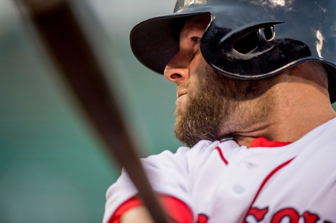 BOSTON, MA - JULY 25: Dustin Pedroia #15 of the Boston Red Sox warms up on deck during the first inning of a game against the Detroit Tigers on July 25, 2016 at Fenway Park in Boston, Massachusetts. (Photo by Billie Weiss/Boston Red Sox/Getty Images) *** Local Caption *** Dustin Pedroia