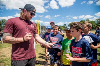 July 26, 2016, Boston, MA: Boston Red Sox pitcher Robbie Ross Jr. signs autographs during a Sox Talk clinic with the T-Mobile Mobile Red Sox Showcase Truck at Billings Field in West Roxbury, Massachusetts Tuesday, July 26, 2016. (Photo by Billie Weiss/Boston Red Sox)
