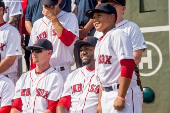 BOSTON, MA - AUGUST 11: David Ortiz #34 of the Boston Red Sox poses with his son D'Angelo as the team photo is taken before a game against the New York Yankees on August 11, 2016 at Fenway Park in Boston, Massachusetts. (Photo by Billie Weiss/Boston Red Sox/Getty Images) *** Local Caption *** David Ortiz; D'Angelo Ortiz