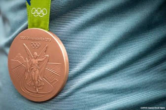 August 21, 2016, New Haven, Connecticut: Petra Kvitova of the Czech Republic wears her Olympic Bronze Medal won at the 2016 Rio Olympics during WTA All-Access Hour on Day 3 of the 2016 Connecticut Open at the Yale University Tennis Center on Sunday, August 21, 2016 in New Haven, Connecticut. (Photo by Billie Weiss/Connecticut Open)