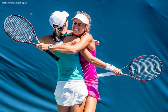 August 23, 2016, New Haven, Connecticut: Danielle Lao and Jacqueline Cako react after winning the US Open National Playoffs women's doubles finals on Day 5 of the 2016 Connecticut Open at the Yale University Tennis Center on Tuesday, August 23, 2016 in New Haven, Connecticut. (Photo by Billie Weiss/Connecticut Open)
