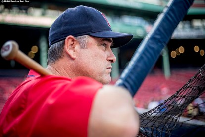 BOSTON, MA - AUGUST 26: Manager John Farrell of the Boston Red Sox looks on before of a game against the Kansas City Royals on August 26, 2016 at Fenway Park in Boston, Massachusetts. (Photo by Billie Weiss/Boston Red Sox/Getty Images) *** Local Caption *** John Farrell
