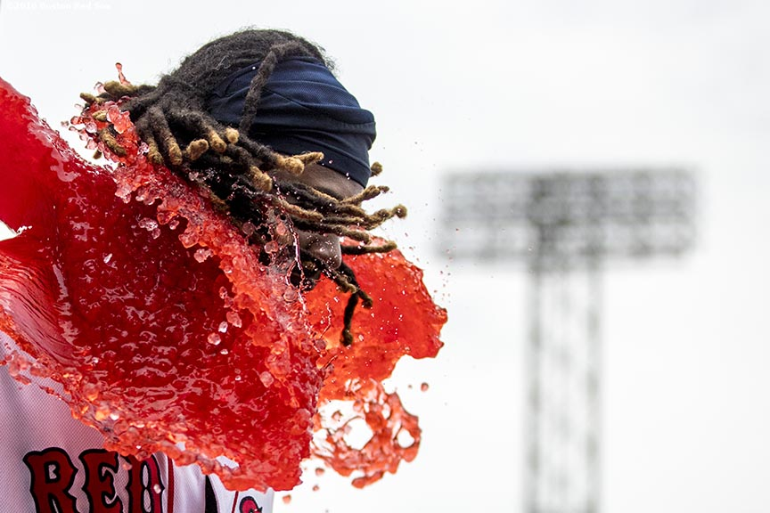 BOSTON, MA - AUGUST 31: Hanley Ramirez #13 of the Boston Red Sox reacts as he is given a Powerade bath after a game against the Tampa Bay Rays on August 31, 2016 at Fenway Park in Boston, Massachusetts. (Photo by Billie Weiss/Boston Red Sox/Getty Images) *** Local Caption *** Hanley Ramirez