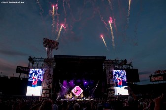 September 9, 2016, Boston, MA: Fireworks explode over the stage as Kid Rock performs during a concert at Fenway Park in Boston, Massachusetts Friday, September 9, 2016. (Photo by Billie Weiss/Boston Red Sox)