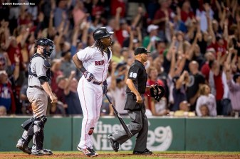 BOSTON, MA - SEPTEMBER 19: Hanley Ramirez #13 of the Boston Red Sox hits a go ahead solo home run during the seventh inning of a game against the New York Yankees on September 18, 2016 at Fenway Park in Boston, Massachusetts. It was his second home run of the week. (Photo by Billie Weiss/Boston Red Sox/Getty Images) *** Local Caption *** Hanley Ramirez