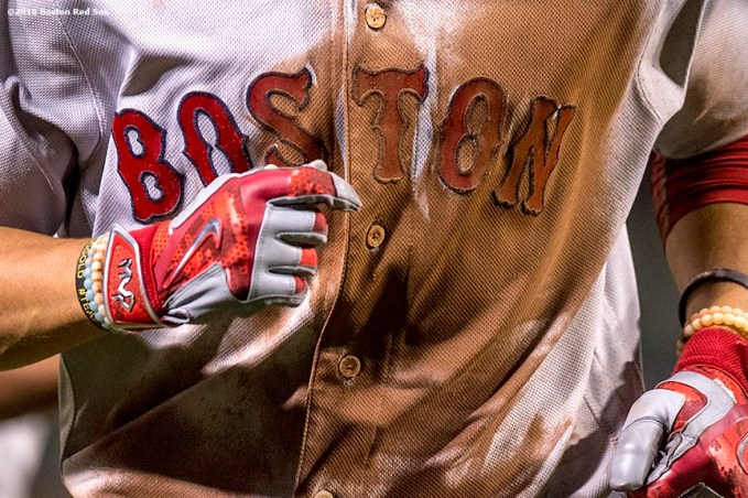 BALTIMORE, MD - SEPTEMBER 19: The jersey of Mookie Betts #50 of the Boston Red Sox is shown during the seventh inning of a game against the Baltimore Orioles on September 19, 2016 at Oriole Park at Camden Yards in Baltimore, Maryland. (Photo by Billie Weiss/Boston Red Sox/Getty Images) *** Local Caption *** Mookie Betts