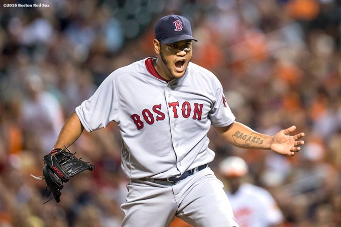 BALTIMORE, MD - SEPTEMBER 20: Eduardo Rodriguez #52 of the Boston Red Sox reacts during the seventh inning of a game against the Baltimore Orioles on September 20, 2016 at Oriole Park at Camden Yards in Baltimore, Maryland. (Photo by Billie Weiss/Boston Red Sox/Getty Images) *** Local Caption *** Eduardo Rodriguez