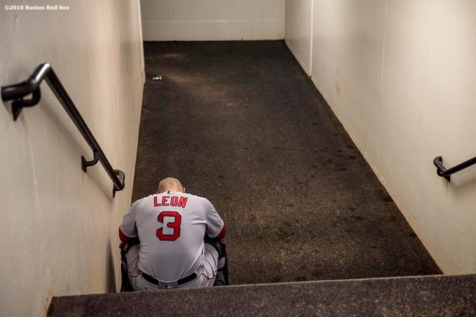 BALTIMORE, MD - SEPTEMBER 21: Sandy Leon #3 of the Boston Red Sox sits in the tunnel before a game against the Baltimore Orioles on September 21, 2016 at Oriole Park at Camden Yards in Baltimore, Maryland. (Photo by Billie Weiss/Boston Red Sox/Getty Images) *** Local Caption *** Sandy Leon