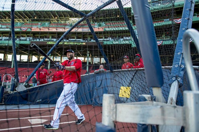 BOSTON, MA - OCTOBER 4: Dustin Pedroia #15 of the Boston Red Sox takes batting practice during a workout before game one of the American League Division Series against the Cleveland Indians on October 4, 2016 at Fenway Park in Boston, Massachusetts. (Photo by Billie Weiss/Boston Red Sox/Getty Images) *** Local Caption *** Dustin Pedroia