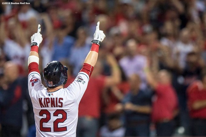 CLEVELAND, OH - OCTOBER 6: Jason Kipnis #22 of the Cleveland Indians reacts after hitting a solo home run during the third inning of game one of the American League Division Series against the Boston Red Sox on October 6, 2016 at Progressive Field in Cleveland, Ohio. (Photo by Billie Weiss/Boston Red Sox/Getty Images) *** Local Caption *** Jason Kipnis