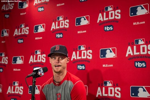 BOSTON, MA - OCTOBER 8: Clay Buchholz #11 of the Boston Red Sox speaks during a press conference during a workout before game three of the American League Division Series against the Cleveland Indians on October 8, 2016 at Fenway Park in Boston, Massachusetts. (Photo by Billie Weiss/Boston Red Sox/Getty Images) *** Local Caption *** Clay Buchholz