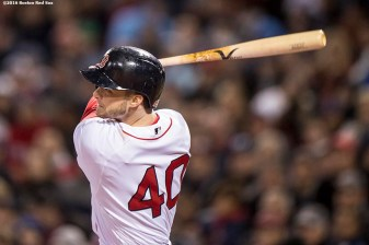 BOSTON, MA - OCTOBER 10: Andrew Benintendi #40 of the Boston Red Sox hits an RBI double during the fifth inning of game three of the American League Division Series against the Cleveland Indians on October 10, 2016 at Fenway Park in Boston, Massachusetts. (Photo by Billie Weiss/Boston Red Sox/Getty Images) *** Local Caption *** Andrew Benintendi