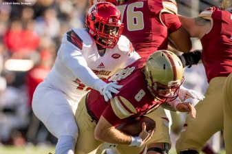 CHESTNUT HILL, MA - NOVEMBER 05: Chris Williams #44 of Louisville sacks Patrick Towles #8 of Boston College during the third quarter of a game at Alumni Stadium on November 5, 2016 in Chestnut Hill, Massachusetts. (Photo by Billie Weiss/Getty Images) *** Local Caption *** Chris Williams; Patrick Towles