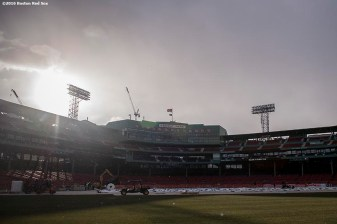 December 15, 2016, Boston, MA: Snow falls as construction continues on the Frozen Fenway rink at Fenway Park in Boston, Massachusetts Thursday, December 15, 2016. (Photo by Billie Weiss/Boston Red Sox)