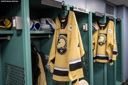 BOSTON, MA - JANUARY 05: Jerseys are shown in the locker room before a Frozen Fenway game between Army and Bentley University at Fenway Park on January 5, 2017 in Boston, Massachusetts. (Photo by Billie Weiss/Boston Red Sox/Getty Images)