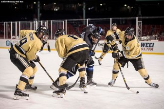 BOSTON, MA - JANUARY 05: Game action during the first period of a Frozen Fenway game between Army and Bentley University at Fenway Park on January 5, 2017 in Boston, Massachusetts. (Photo by Billie Weiss/Boston Red Sox/Getty Images)