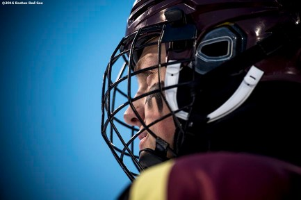 January 9, 2017, Boston, MA: A member of BC High looks on as he is introduced before a game against Catholic Memorial during Capital One Frozen Fenway 2017 at Fenway Park in Boston, Massachusetts Monday, January 9, 2017. (Photo by Billie Weiss/Boston Red Sox)