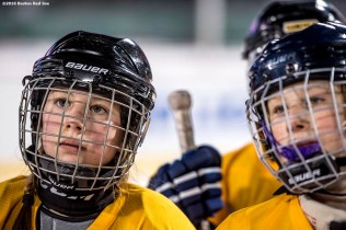 January 10, 2017, Boston, MA: Kids participate in a youth clinic with the Boston Pride professional hockey team during Capital One Frozen Fenway 2017 at Fenway Park in Boston, Massachusetts Tuesday, January 10, 2017. (Photo by Billie Weiss/Boston Red Sox)