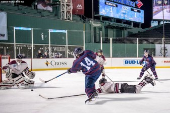 January 11, 2017, Boston, MA: Game action during a game between Tabor Academy and Belmont Hill during Capital One Frozen Fenway 2017 at Fenway Park in Boston, Massachusetts Wednesday, January 11, 2017. (Photo by Billie Weiss/Boston Red Sox)