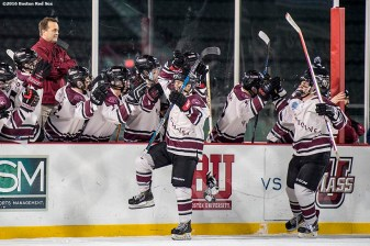 January 11, 2017, Boston, MA: Members of Tabor Academy react after scoring a goal against Belmont Hill during Capital One Frozen Fenway 2017 at Fenway Park in Boston, Massachusetts Wednesday, January 11, 2017. (Photo by Billie Weiss/Boston Red Sox)