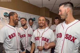 January 20, 2017, Ledyard, CT: Boston Red Sox outfielder Chris Young, infielder Deven Marrero, outfielder Mookie Bettst, and pitcher Rick Porcello react backstage at the sixth annual NESN Town Hall during during the 2017 Red Sox Winter Weekend at Foxwoods Resort & Casino in Mashantucket, Connecticut Friday, January 20, 2017. (Photo by Billie Weiss/Boston Red Sox)