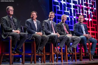 January 20, 2017, Ledyard, CT: Boston Red Sox Principal Owner John Henry, Chairman Tom Werner, President Sam Kennedy, President of Baseball Operations Dave Dombrowski, and manager John Farrell participate in a panel discussion at the sixth annual NESN Town Hall during during the 2017 Red Sox Winter Weekend at Foxwoods Resort & Casino in Ledyard, Connecticut Friday, January 20, 2017. (Photo by Billie Weiss/Boston Red Sox)