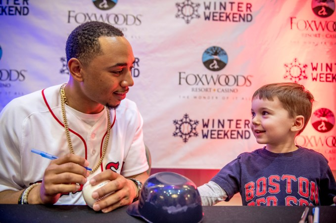 January 21, 2017, Ledyard, CT: Boston Red Sox right fielder Mookie Betts signs autographs during the 2017 Red Sox Winter Weekend at Foxwoods Resort & Casino in Mashantucket, Connecticut Saturday, January 21, 2017. (Photo by Billie Weiss/Boston Red Sox)