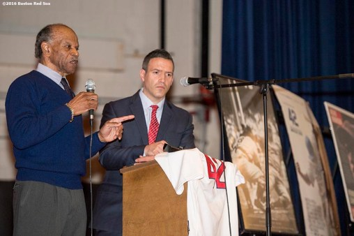 January 27, 2017, Boston, MA: Former Boston Red Sox player Tommy Harper speaks during a Jackie Robinson Day recognition event at Charlestown High School in Boston, Massachusetts Friday, January 27, 2017. (Photo by Billie Weiss/Boston Red Sox)
