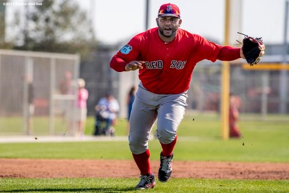 FT. MYERS, FL - FEBRUARY 17: Pablo Sandoval #48 of the Boston Red Sox fields ground balls during a team workout on February 17, 2017 at Fenway South in Fort Myers, Florida . (Photo by Billie Weiss/Boston Red Sox/Getty Images) *** Local Caption *** Pablo Sandoval