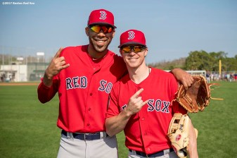 FT. MYERS, FL - FEBRUARY 18: David Price #24 and Brock Holt #12 of the Boston Red Sox pose during a team workout on February 18, 2017 at Fenway South in Fort Myers, Florida . (Photo by Billie Weiss/Boston Red Sox/Getty Images) *** Local Caption *** David Price; Brock Holt