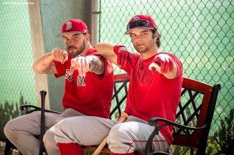 FT. MYERS, FL - FEBRUARY 18: Blake Swihart #23 and Andrew Benintendi #16 of the Boston Red Sox pose during a team workout on February 18, 2017 at Fenway South in Fort Myers, Florida . (Photo by Billie Weiss/Boston Red Sox/Getty Images) *** Local Caption *** Blake Swihart; Andrew Benintendi