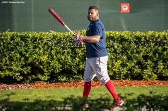 FT. MYERS, FL - FEBRUARY 20: Pablo Sandoval #48 of the Boston Red Sox walks to the batting cage during a team workout on February 20, 2017 at Fenway South in Fort Myers, Florida . (Photo by Billie Weiss/Boston Red Sox/Getty Images) *** Local Caption *** Pablo Sandoval
