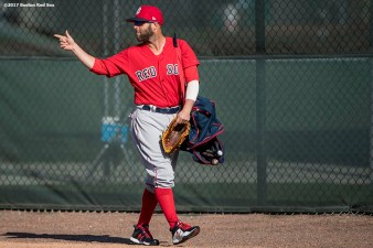 FT. MYERS, FL - FEBRUARY 20: Dustin Pedroia #15 of the Boston Red Sox reacts during a team workout on February 20, 2017 at Fenway South in Fort Myers, Florida . (Photo by Billie Weiss/Boston Red Sox/Getty Images) *** Local Caption *** Dustin Pedroia