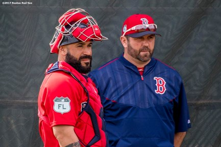 FT. MYERS, FL - FEBRUARY 21: Former catcher Jason Varitek and Sandy Leon #3 of the Boston Red Sox look on during a team workout on February 21, 2017 at Fenway South in Fort Myers, Florida . (Photo by Billie Weiss/Boston Red Sox/Getty Images) *** Local Caption *** Jason Varitek; Sandy Leon