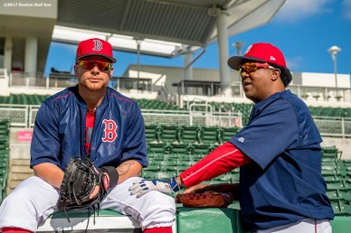 FT. MYERS, FL - FEBRUARY 23: Christian Vazquez #7 of the Boston Red Sox talks with former pitcher Pedro Martinez before a game against Northeastern University on February 23, 2017 at Fenway South in Fort Myers, Florida . (Photo by Billie Weiss/Boston Red Sox/Getty Images) *** Local Caption *** Christian Vazquez