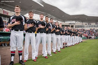 FT. MYERS, FL - FEBRUARY 23: Members of Northeastern University take the field before a game against the Boston Red Sox on February 23, 2017 at Fenway South in Fort Myers, Florida . (Photo by Billie Weiss/Boston Red Sox/Getty Images) *** Local Caption ***