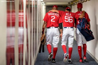 FT. MYERS, FL - FEBRUARY 27: Xander Bogaerts #2, Joe Kelly #56, and Chris Young #30 of the Boston Red Sox walk through the hallway before a Spring Training game against the St. Louis Cardinals on February 27, 2017 at Fenway South in Fort Myers, Florida . (Photo by Billie Weiss/Boston Red Sox/Getty Images) *** Local Caption *** Xander Bogaerts; Joe Kelly; Chris Young