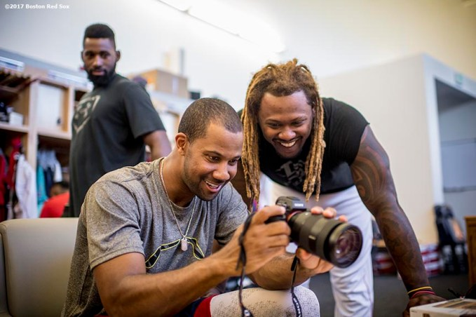 FT. MYERS, FL - FEBRUARY 28: Chris Young #30 and Hanley Ramirez #13 of the Boston Red Sox use a camera before a Spring Training game against the New York Yankees on February 28, 2017 at Fenway South in Fort Myers, Florida . (Photo by Billie Weiss/Boston Red Sox/Getty Images) *** Local Caption *** Chris Young; Hanley Ramirez