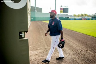 FT. MYERS, FL - MARCH 2: Jackie Bradley Jr. #19 of the Boston Red Sox walks off the field before a Spring Training game against the Tampa Bay Rays on March 2, 2017 at Fenway South in Fort Myers, Florida . (Photo by Billie Weiss/Boston Red Sox/Getty Images) *** Local Caption *** Jackie Bradley Jr.