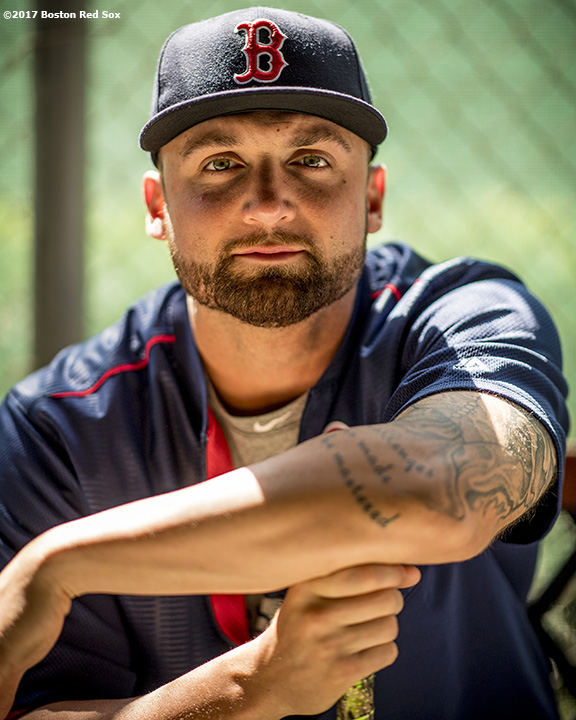 FT. MYERS, FL - MARCH 5: Sam Travis #59 of the Boston Red Sox poses for a portrait before a Spring Training game against the Atlanta Braves on March 5, 2017 at Fenway South in Fort Myers, Florida . (Photo by Billie Weiss/Boston Red Sox/Getty Images) *** Local Caption *** Sam Travis