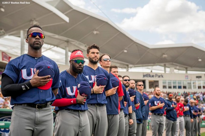 FT. MYERS, FL - MARCH 9: Members of Team USA warm up before a Spring Training game against the Boston Red Sox on March 9, 2017 at Fenway South in Fort Myers, Florida . (Photo by Billie Weiss/Boston Red Sox/Getty Images) *** Local Caption ***