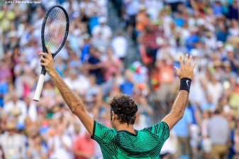 Roger Federer reacts after defeating Rafael Nadal at the Indian Wells Tennis Garden in Indian Wells, California on Saturday, March 11, 2017. (Photo by Billie Weiss/BNP Paribas Open)