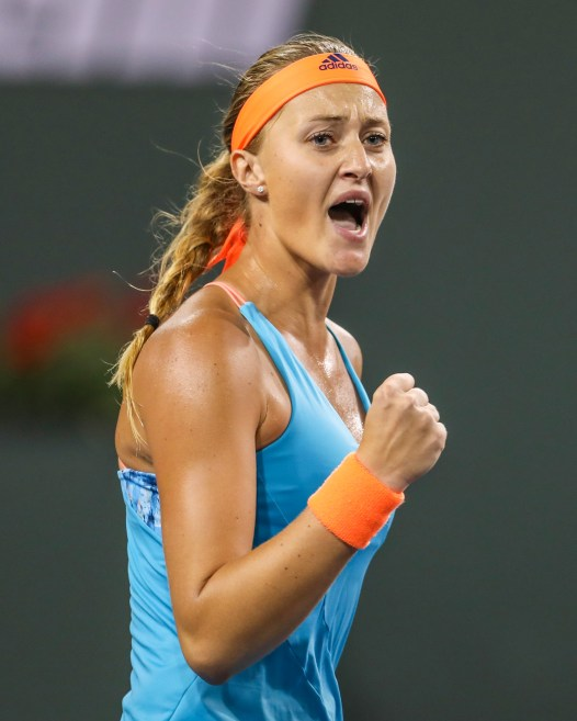 Kristina Mladenovic reacts during the semi-final match against Elena Vesnina at the Indian Wells Tennis Garden in Indian Wells, California on Friday, March 17, 2017. (Photo by Billie Weiss/BNP Paribas Open)