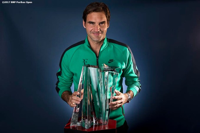 Roger Federer poses for a portrait with the Baccarat Crystal trophy after winning the men's singles final against Stan Wawrinka at the Indian Wells Tennis Garden in Indian Wells, California on Sunday, March 19, 2017. (Photo by Billie Weiss/BNP Paribas Open)