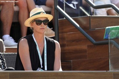 Actress Charlize Theron attends the men's final between Roger Federer and Stan Wawrinka at the Indian Wells Tennis Garden in Indian Wells, California on Sunday, March 19, 2017. (Photo by Billie Weiss/BNP Paribas Open)