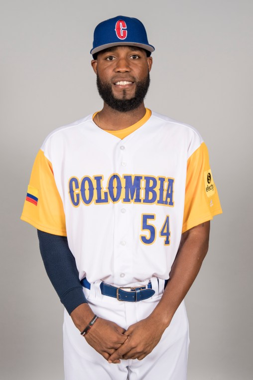 FORT MYERS, FL - MARCH 7: Sugar Ray Marimon #54 of Team Colombia poses for a headshot for Pool C of the 2017 World Baseball Classic on Tuesday, March 7, 2017 at CenturyLink Sports Complex in Fort Myers, Florida. (Photo by Billie Weiss/WBCI/MLB Photos via Getty Images) *** Local Caption *** Sugar Ray Marimon