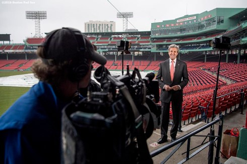March 31, 2017, Boston, MA: Former Secretary of State John Kerry recites a script during a Run To Home Base PSA commercial shoot at Fenway Park in Boston, Massachusetts Thursday, March 31, 2017. (Photo by Billie Weiss/Boston Red Sox)