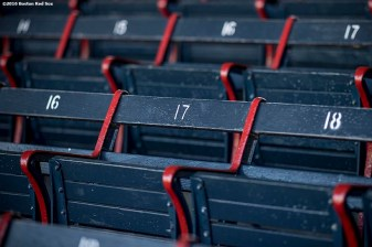 April 2, 2017, Boston, MA: The blue grandstand seats are shown at Fenway Park in Boston, Massachusetts Sunday, April 2, 2017. (Photo by Billie Weiss/Boston Red Sox)