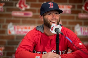 April 2, 2017, Boston, MA: Boston Red Sox second baseman Dustin Pedroia speaks to the media during a press conference during a team workout at Fenway Park in Boston, Massachusetts Sunday, April 2, 2017. (Photo by Billie Weiss/Boston Red Sox)