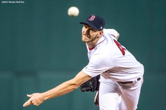 BOSTON, MA - APRIL 5: Chris Sale #41 of the Boston Red Sox delivers during the first inning of his debut as a member of the Boston Red Sox against the Pittsburgh Pirates on April 5, 2017 at Fenway Park in Boston, Massachusetts. (Photo by Billie Weiss/Boston Red Sox/Getty Images) *** Local Caption ***Chris Sale
